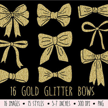 Gold Glitter Bows Clip Art. Gold Glitter Ribbons Clip Art. Hand Drawn Bows for Scrapbooking. Christmas Bows, Birthday Bow Clipart.