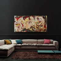 """Mixed media art wall art Fluid painting Mixed media original water color art on canvas abstract office or home decor """"48x24"""" (121.92x60.96)"""