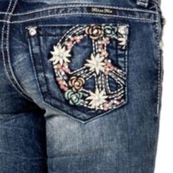 Miss Me Womens Juicy Peace Boot Cut Jeans JP7500B Size 25 26 27 28 29 30 31