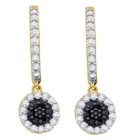 Black Diamond Fashion Earrings in 14k Gold 0.49 ctw