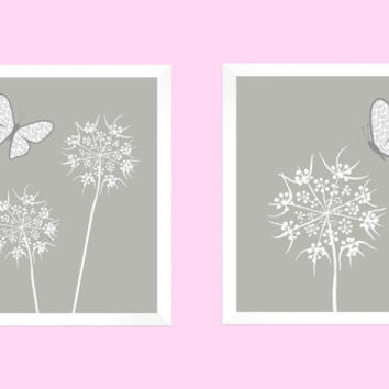 White Floral with Gray Butterflies on Medium Gray CUSTOMIZE YOUR COLORS, 8x10 Prints, Nursery Decor Print Baby Room Bathroom Livingroom Art