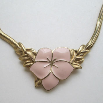 Trifari Peach Enamel Flower Necklace Snake Chain Designer Signed Vintage Jewelry