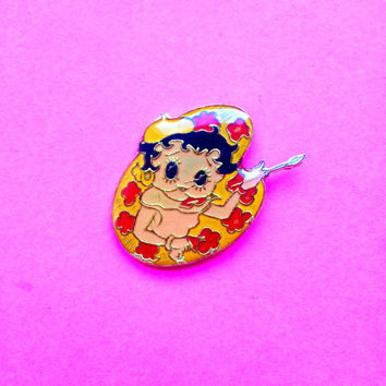 VTG Rare Deadstock Bootleg Betty Boop 60's Artist Lapel pin Brooch