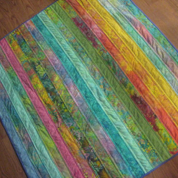 """Baby Crib Quilt Easter Colors 38""""x42"""" Pastel Batiks Aqua Rose Blue and Lime Green"""