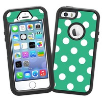 """White Polka Dot on Teal Green """"Protective Decal Skin"""" for OtterBox Defender iPhone 5s Case"""