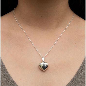 """Sterling Silver Classic Heart Locket Pendant Necklace, 19mm pendant, 18"""" box chain"""
