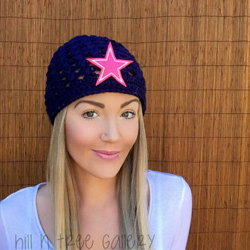 Dallas Cowboys Navy Blue Cap w/ Hot Pink Breast Cancer Awareness Star Crochet Texas Football Accessory Hat Knit Girl Accessories Beanie