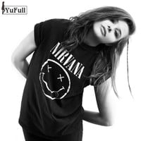 Harajuku Summer 2018 Casual Black T Shirt Women Tops Punk Rock Nirvana Letter Print Short Sleeve T-shirt O-Neck Tee Shirt Femme