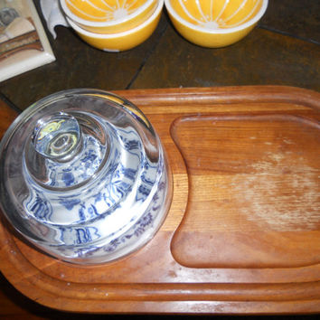 European Cheese tray with glass dome