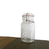 Vintage Ball Jar Clear Ideal Jar with Lid, Seal, and Wire Bail Closure - Storage, Decor, and Design