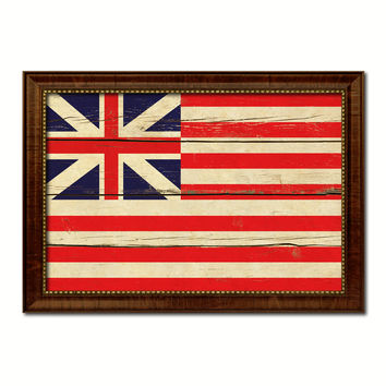 Grand Union Military Flag Vintage Canvas Print with Brown Picture Frame Gifts Ideas Home Decor Wall Art Decoration