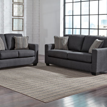 2 pc Bavello collection indigo fabric upholstered sofa and love seat set with squared arms