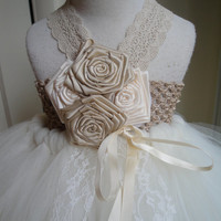 custom listing for Natasha,champagne and ivory flower girl tutu dress