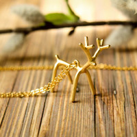 Stick Reindeer Necklace, Available in Silver and Gold