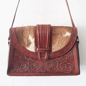 Mexican Tooled Leather Bag with Cowhide Flap