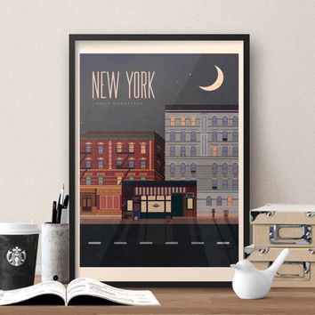 Friends TV show themed New York Travel Poster - Vintage style New York Travel Poster featuring Central Perk Cafe from Friends TV Show
