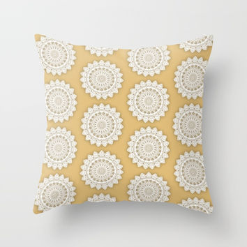 MINIMALIST MANDALA COLLAGE III (GOLDEN, MUSTARD YELLOW) Throw Pillow by AEJ Design