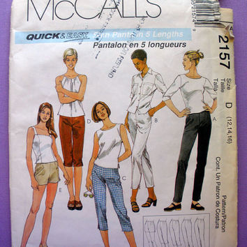 Women's Pants, Capri, Clam Digger, Pedal Pusher and Shorts Misses' Size 12, 14, 16 McCall's 2157 Sewing Pattern Uncut