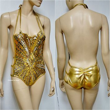 Golden Goddess Gold White Black Sequin Mesh Monokini Swimsuit Bathing Suit Rave Bra Dance Leotard