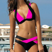Women Sexy Splicing Bandage Beachwear Bra Set Criss-Cross Swimsuit Summer Swimwear Two-piece Bikinis Sets S/M/L/XL