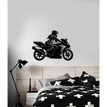 Vinyl Wall Decal Speed Racing Sexy Girl On a Motorcycle Stickers (3989ig)