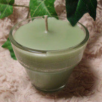 Handmade Creme Candle, French Vanilla in Glass Flower Pot Holder