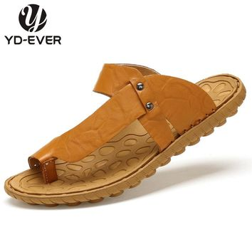 100% GENUINE LEATHER MEN SANDALS-handmade men sandals plus size Summer fashion beach slippers flip flops casual moccasin shoes