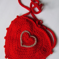 Red Bag, Heart Shoulder Bag, Crochet