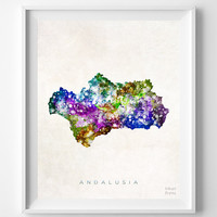 Andalusia, Spain, Map, Print, Watercolor, Home Town, Poster, Country, Wall Decor, Painting, Bedroom, Living Room, World Map [NO 1254]