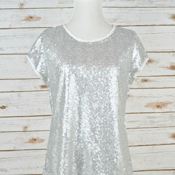 Life is Short, Wear Sequins Tee - Silver