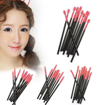 50pcs Makeup Cosmetic Disposable Eyelash Brush Mascara Wand Applicator Kit