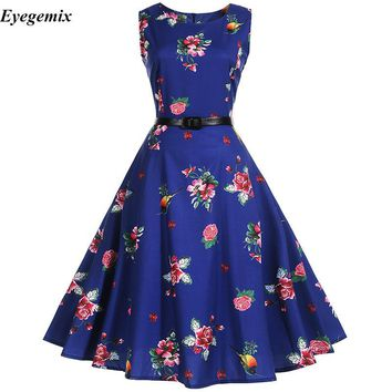 Audrey Hepburn Robe Retro Rockabilly Dress 2017 Jurken 50s 60s Swing Pin Up Women Summer Floral Printed Vintage Dresses