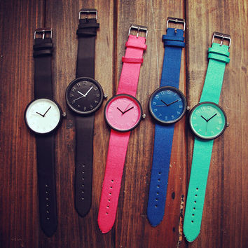Simple Leather Watch Casual Sports Watches + Gift Box-466
