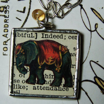 Elephant, Circus, Jewelry,  Circus Elephant, Steampunk, Collage,  Vintage Book Page, Print, Necklace, Animal, Bead, Retro