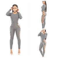 Gray Long Sleeve Side Cut Out Mesh Bodycon Jumpsuit