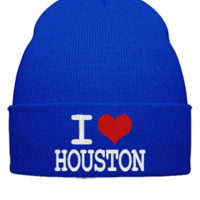 I LOVE HOUSTON EMBROIDERY  - Beanie Cuffed Knit Cap
