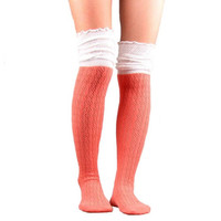Splice Colorful Knee High Socks Knitted Boot Cuff