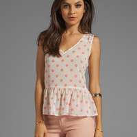 Sanctuary La Ferme Sleeveless Peplum Top in Peach Medallion
