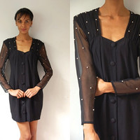 Vtg Pearled Sheer Sleeves Button Down 80s Little Black Dress