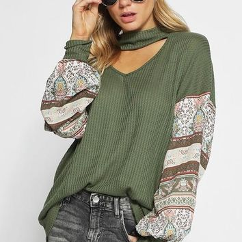 Thermal Waffle Knit Top with Boho Print on Balloon Sleeves - Olive
