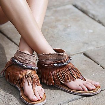 Free People Womens Wonder Land Fringe Sandal