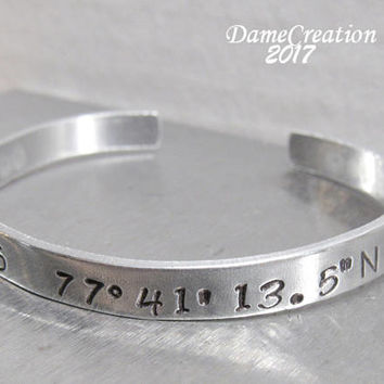 Custom Coordinate Bracelet - Longitude and Latitude Bracelet - Longitude and Latitude Jewelry - Silver Stamped Cuff - Silver Cuff Bracelet