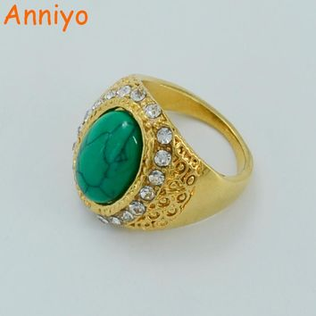 Anniyo Arab Ring for Women Gold Color Green Stone Ring Jewelry African Trendy Ring,Ethiopia Ring Middle Eastern #024506
