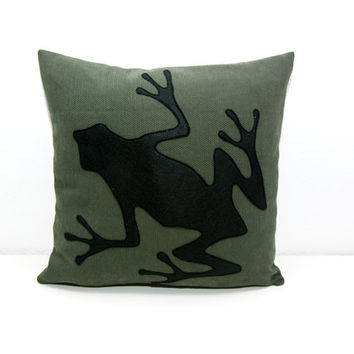 Frog cushion cover - dark green and black - decorative pillow - sofa pillow