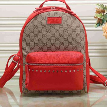 Vintage GUCCI Casual School Bag Leather Backpack 1368