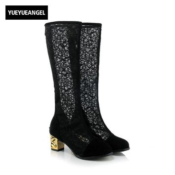 Autumn Fashion Women Block Heel Boots Ladies Sexy Lace Knee High Boots For Women High Heel Long Shoes Black Plue Size 32-46