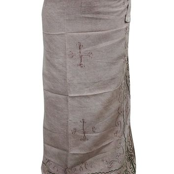 Women Boho Wrap Around Beige Stonewashed Embroidered Long Skirts
