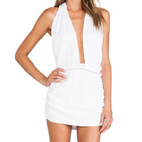Indah Joey Deep V Halter Dress in White