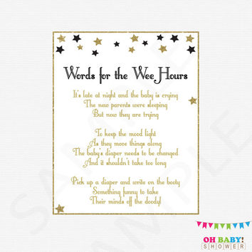 Diaper Message Game Black and Gold Baby Shower Games Girl Boy Late Night Diapers Words for the Wee Hours Write on Booty Game Printable STBLG