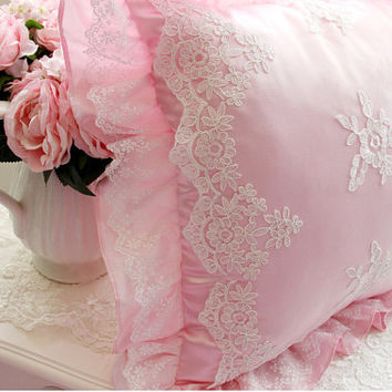 French Country Provincial Girl Princess Floral Pink Embroidery Decorative Cushion Cover Throw Pillow 004